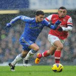 LONDON, ENGLAND - JANUARY 20:  Eden Hazard of Chelsea chases the ball with Francis Coquelin of Arsenal during the Barclays Premier League match between Chelsea and Arsenal at Stamford Bridge on January 20, 2013 in London, England.  (Photo by Laurence Griffiths/Getty Images)